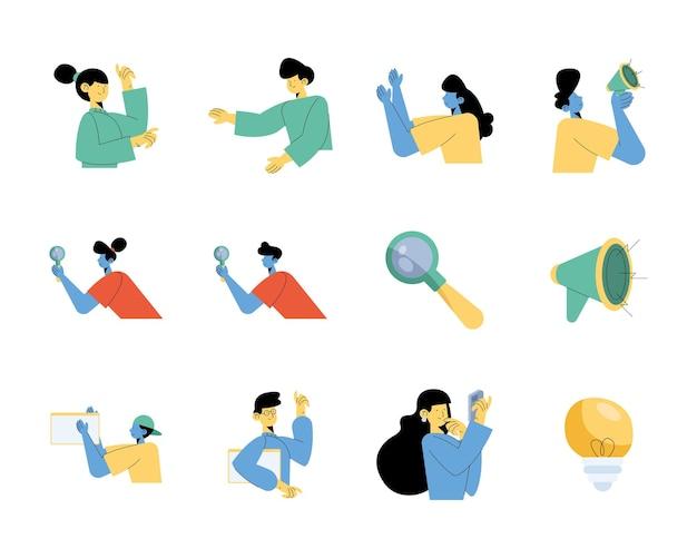 Un gruppo di nove persone con progettazione dell'illustrazione delle icone di marketing digitale