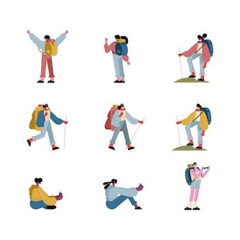 Un gruppo di nove viaggiatori che indossano maschere nuovo design illustrazione normalità