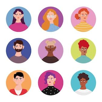 Gruppo di nove personaggi di avatar di giovani