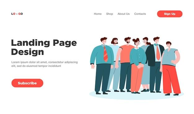 Gruppo di impiegati d'ufficio in piedi insieme landing page