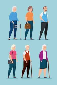 Gruppo di anziani avatar personaggio