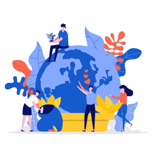 Un gruppo di persone si prende cura e protegge la terra. ecologia del volontariato e del salvataggio del pianeta.