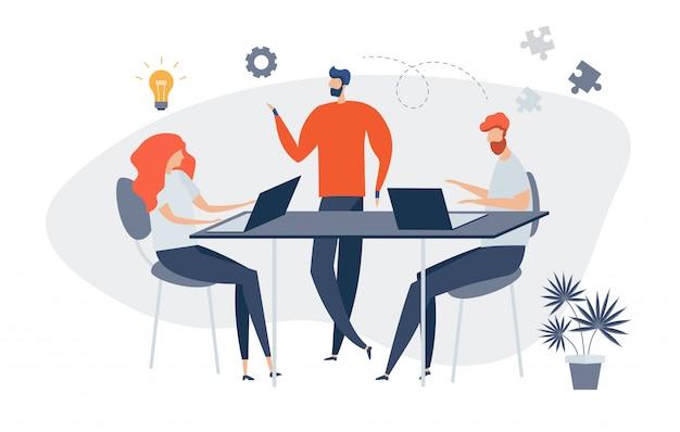 I personaggi di un gruppo di persone stanno pensando a un'idea di notizie online, social network, comunicazione virtuale, notizie aziendali, costruzione di siti. gli uomini d'affari discutono di social. preparare l'avvio di un progetto.