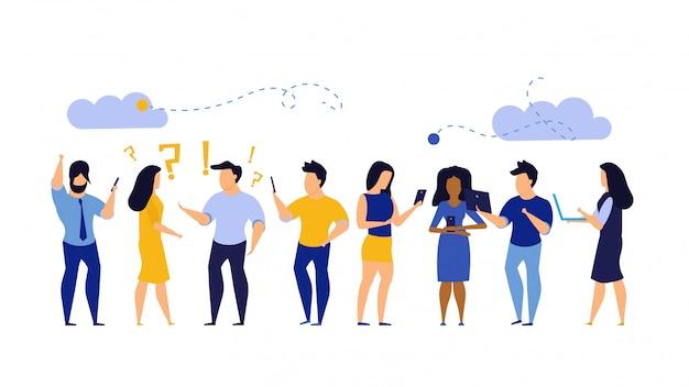 La gente del gruppo chiacchiera sul feedback di chat dell'illustrazione del telefono cellulare