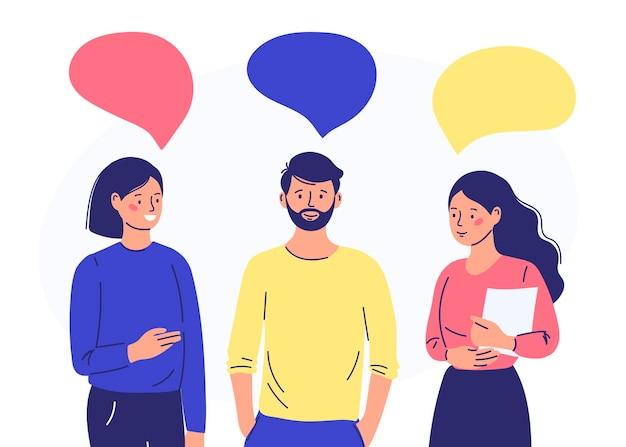 Un gruppo di persone comunica tra loro. illustrazione del vento in stile cartone animato