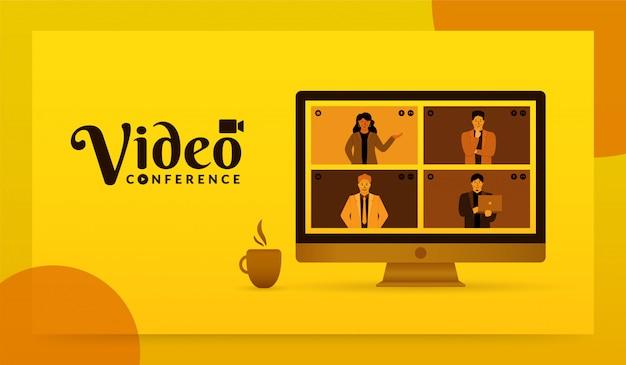 Gruppo di persone sullo schermo del computer che prendono insieme, concetto di videoconferenza