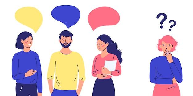 Un gruppo di persone condanna, evita l'uomo emarginato. introverso nella società. illustrazione vettoriale