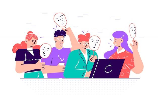 Gruppo di persone che coprono il viso con maschere che esprimono emozioni positive. concetto di nascondere personalità o individualità, problema psicologico. illustrazione variopinta del fumetto di stile piano.