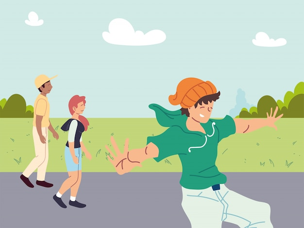 Gruppo di persone che fanno attività sportive all'aperto