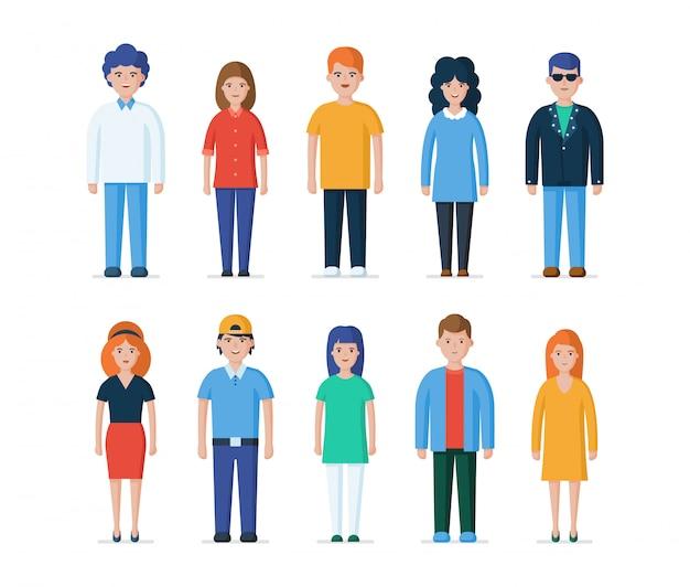 Gruppo di persone in abiti casual tutti i giorni. personaggi di ragazzi e ragazze.
