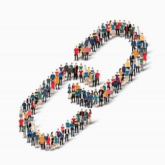 Le persone del gruppo formano un collegamento a catena