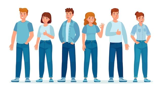 Gruppo di persone in jeans. studenti in abiti casual in denim in piedi insieme. giovani donne e uomini. adolescenti nel concetto di vettore di pantaloni jeans. illustrazione di persone maschi e femmine in jeans