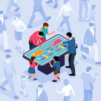 Gruppo di persone in cerca di informazioni sul pannello interattivo isometrico