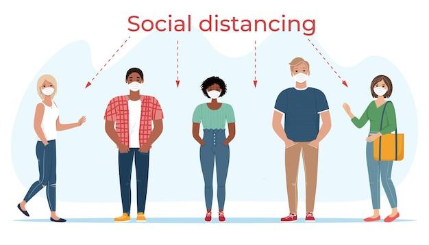 Gruppo di persone in maschere concetto sociale di allontanamento