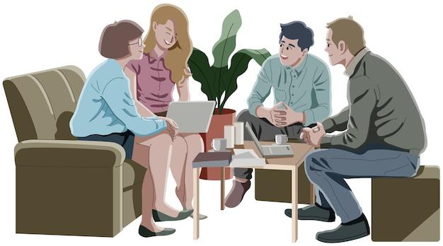 Gruppo di persone che si incontrano e discutono il concetto di business.