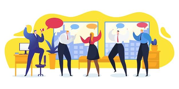 Illustrazione di conversazione dell'ufficio della gente del gruppo. discussione del lavoratore organizzazione moderna tecnologia aziendale. comunicazione di squadra, presentazione della pianificazione insieme. orporate parlando giovane collega.