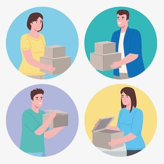 Persone del gruppo che aprono scatole