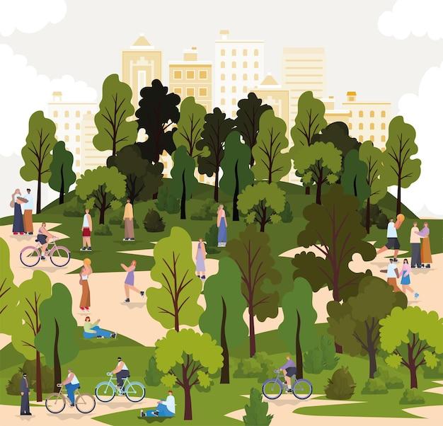 Gruppo di persone in un parco con le biciclette