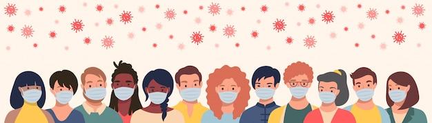 Gruppo di persone in maschera protettiva e coronavirus volante in stile piatto. uomini e donne che indossano maschere mediche per prevenire malattie, influenza, concetto di quarantena.