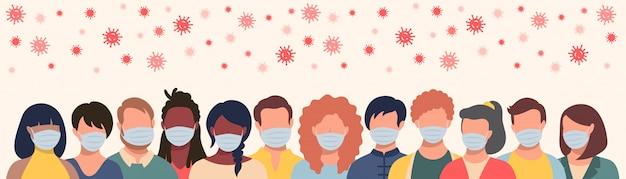Gruppo di persone con maschere protettive e coronavirus volante