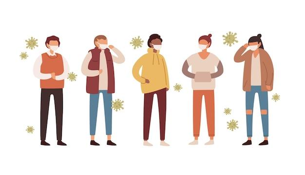 Gruppo di persone in maschere mediche protettive circondate da batteri.