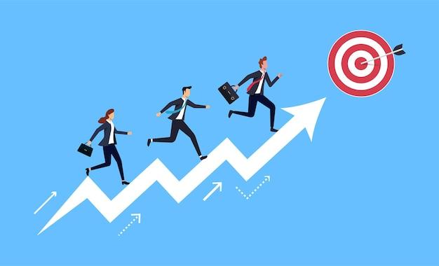 Gruppo di persone che corrono sul simbolo della freccia verso l'obiettivo. concetto di affari per il successo.