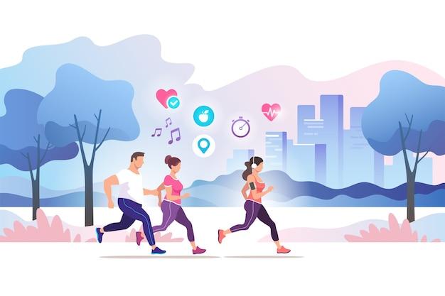 Gruppo di persone che corrono nel parco pubblico della città