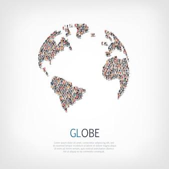 La gente del gruppo modella il globo