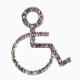 Gruppo di persone in forma di invalido. illustrazione.