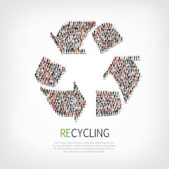 Le persone del gruppo modellano il riciclaggio