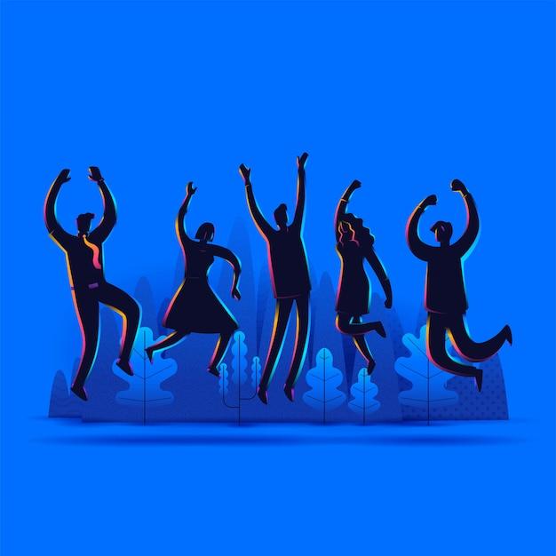 La gente del gruppo profila il salto con le mani sollevate isolate su fondo bianco. illustrazione della pagina di destinazione.