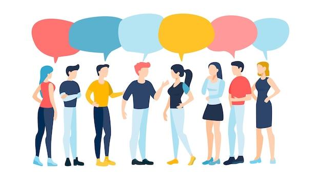 Gruppo di persone che parlano. comunicazione e connessione