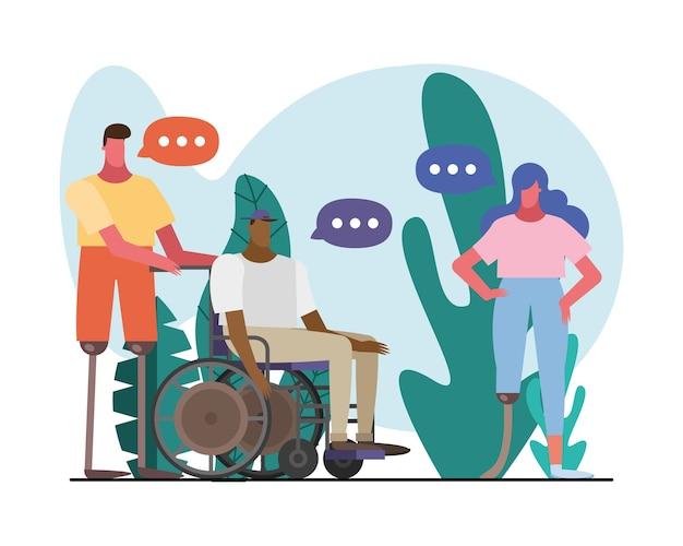 Gruppo di persone che parlano con personaggi di handicap nel disegno di illustrazione del campo