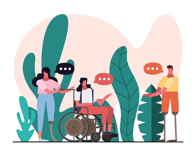 Gruppo di persone che parlano con handicap caratteri illustrazione design