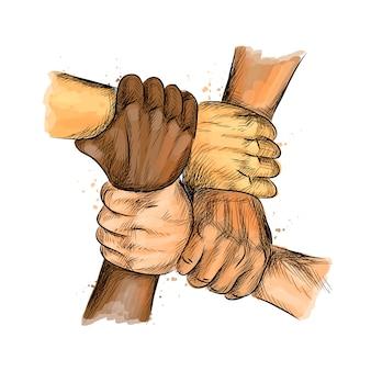 Gruppo di persone mani unite che esprimono insieme concetti positivi e di lavoro di squadra.