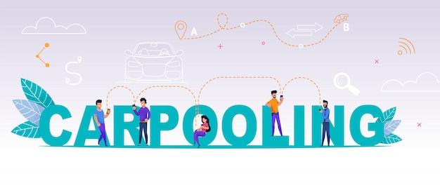 Persone di gruppo che utilizzano il car pooling dell'applicazione online