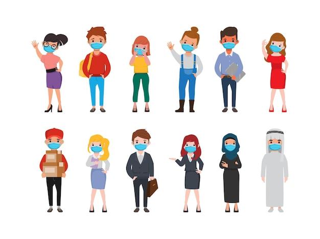 Gruppo di persone che indossano una posa di animazione della maschera facciale
