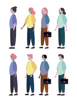 Gruppo di persone che indossano personaggi maschere mediche