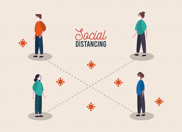Gruppo di persone che indossano maschere mediche che praticano la distanza sociale