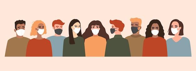 Gruppo di persone con mascherina medica bianca e nera, coronavirus, covid-19.