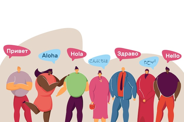 Gruppo di persone con culture e lingue diverse. saluti multilingue in bolle di discorso piatto illustrazione vettoriale. concetto di comunicazione internazionale per banner, design di siti web o landing page