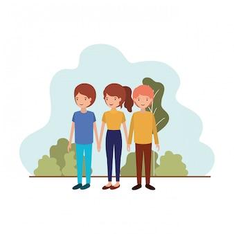 Gruppo di persone con carattere avatar paesaggio