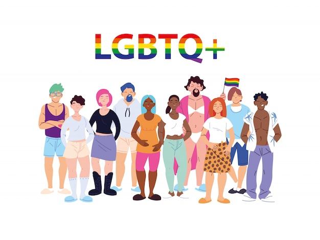 Gruppo di persone con simbolo del gay pride lgbtq, uguaglianza e diritti dei gay