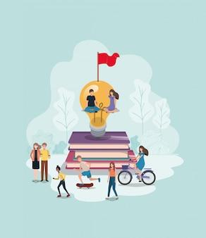Gruppo di persone con lampadina e libri