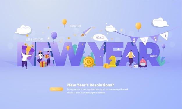 Gruppo di persone con risoluzione del nuovo anno per il concetto di piano futuro 2021