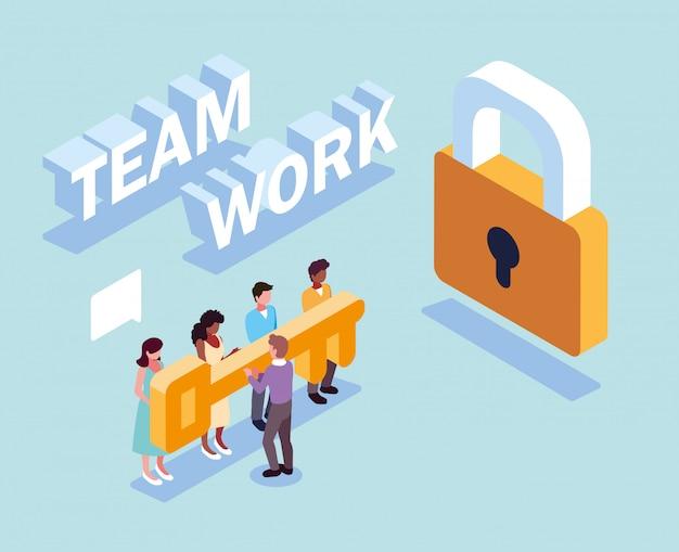Gruppo di persone con lucchetto di sicurezza e chiave, lavoro di squadra