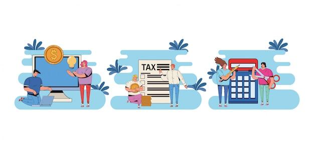 Gruppo di persone con progettazione dell'illustrazione di paga di giorno di imposta