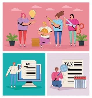 Gruppo di persone con le tasse e le icone dei soldi