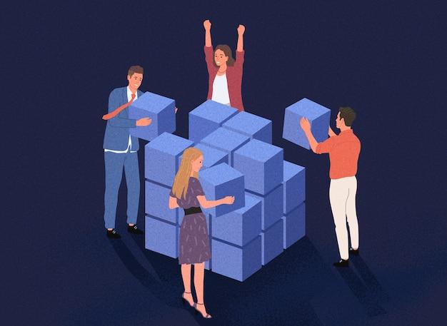 Gruppo di persone che fanno il lavoro di squadra. persone di cooperazione, collaborazione e partnership nel mondo degli affari. stile cartone animato.