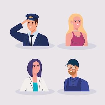 Gruppo di persone diverse ocupazioni caratteri